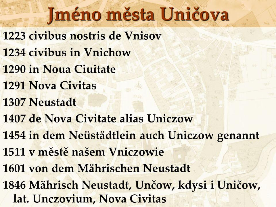 Jméno města Uničova 1223 civibus nostris de Vnisov 1234 civibus in Vnichow 1290 in Noua Ciuitate 1291 Nova Civitas 1307 Neustadt 1407 de Nova Civitate