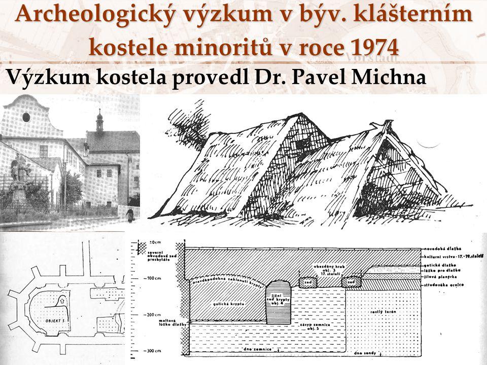 Archeologický výzkum v býv. klášterním kostele minoritů v roce 1974 Výzkum kostela provedl Dr. Pavel Michna