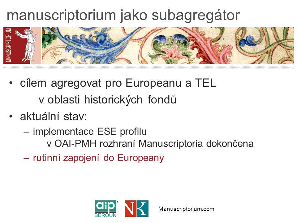 Manuscriptorium.com manuscriptorium jako subagregátor cílem agregovat pro Europeanu a TEL v oblasti historických fondů aktuální stav: –implementace ESE profilu v OAI-PMH rozhraní Manuscriptoria dokončena –rutinní zapojení do Europeany