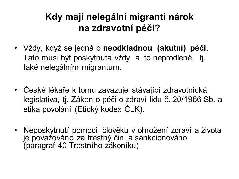 Kdy mají nelegální migranti nárok na zdravotní péči? Vždy, když se jedná o neodkladnou (akutní) péči. Tato musí být poskytnuta vždy, a to neprodleně,
