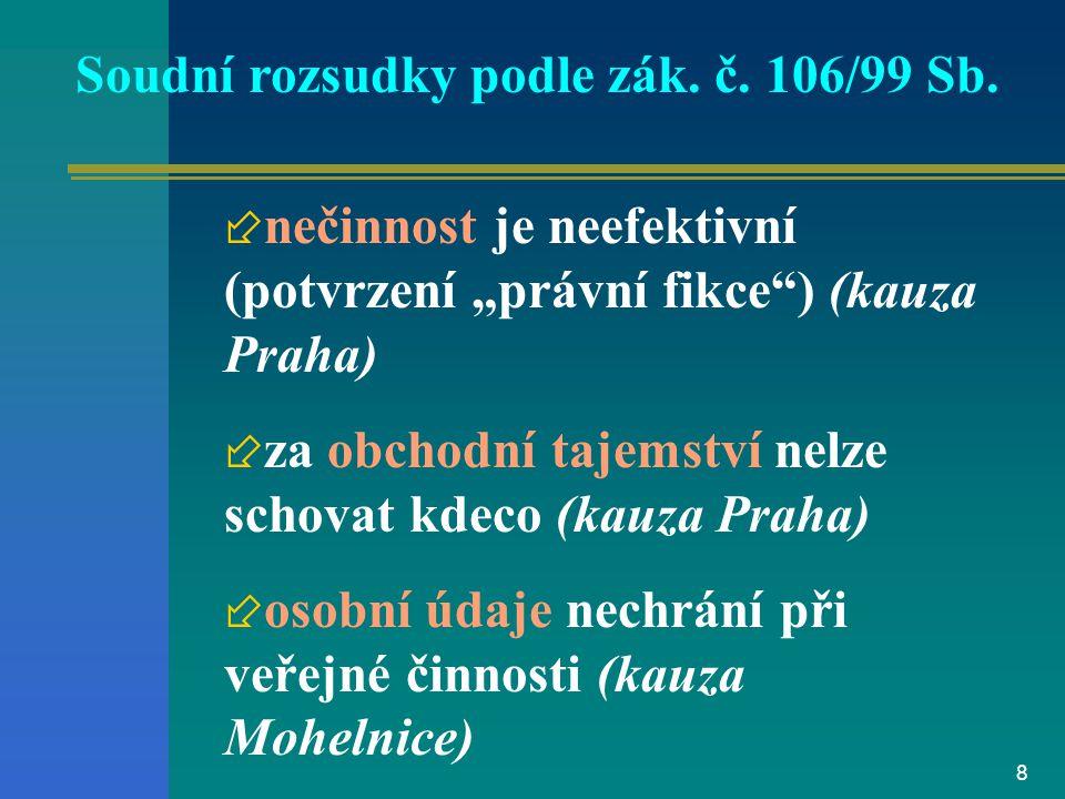 8 Soudní rozsudky podle zák.č. 106/99 Sb.