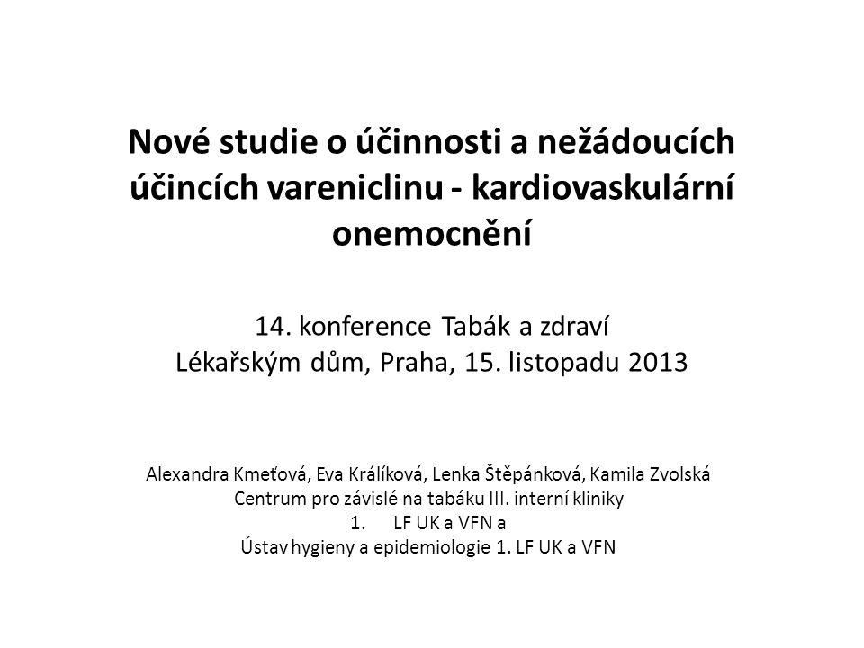 Nové studie o účinnosti a nežádoucích účincích vareniclinu - kardiovaskulární onemocnění 14.