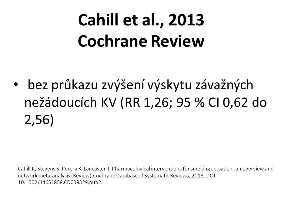 Cahill et al., 2013 Cochrane Review bez průkazu zvýšení výskytu závažných nežádoucích KV (RR 1,26; 95 % CI 0,62 do 2,56) Cahill K, Stevens S, Perera R, Lancaster T.