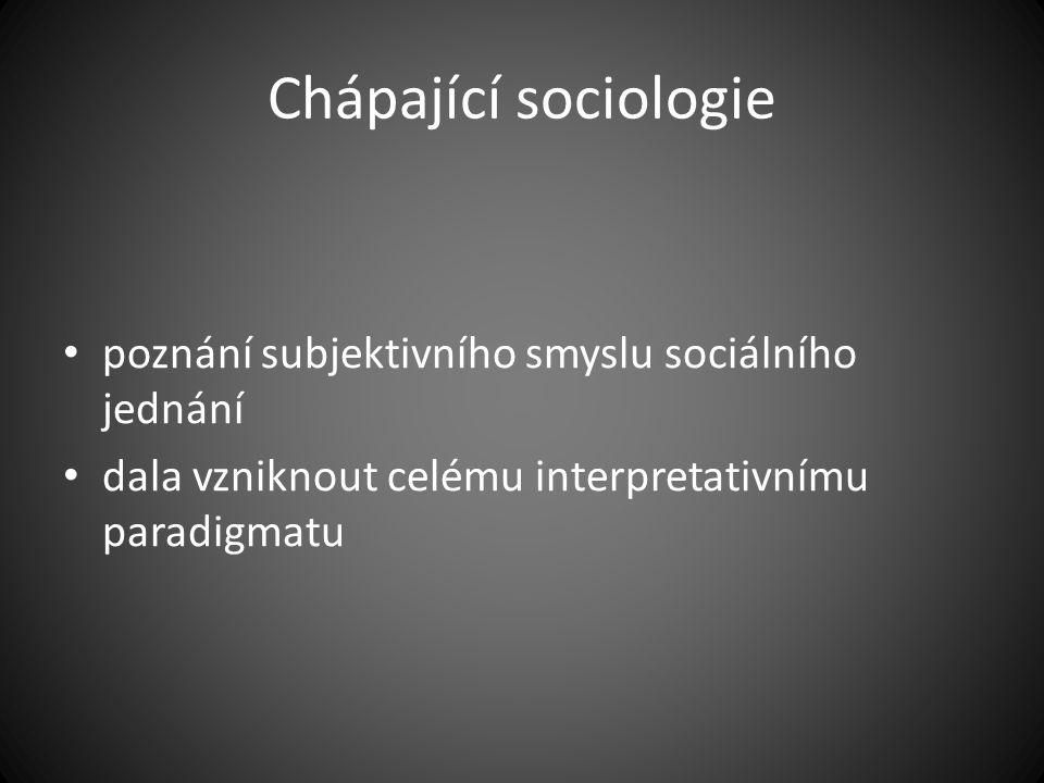 Chápající sociologie poznání subjektivního smyslu sociálního jednání dala vzniknout celému interpretativnímu paradigmatu