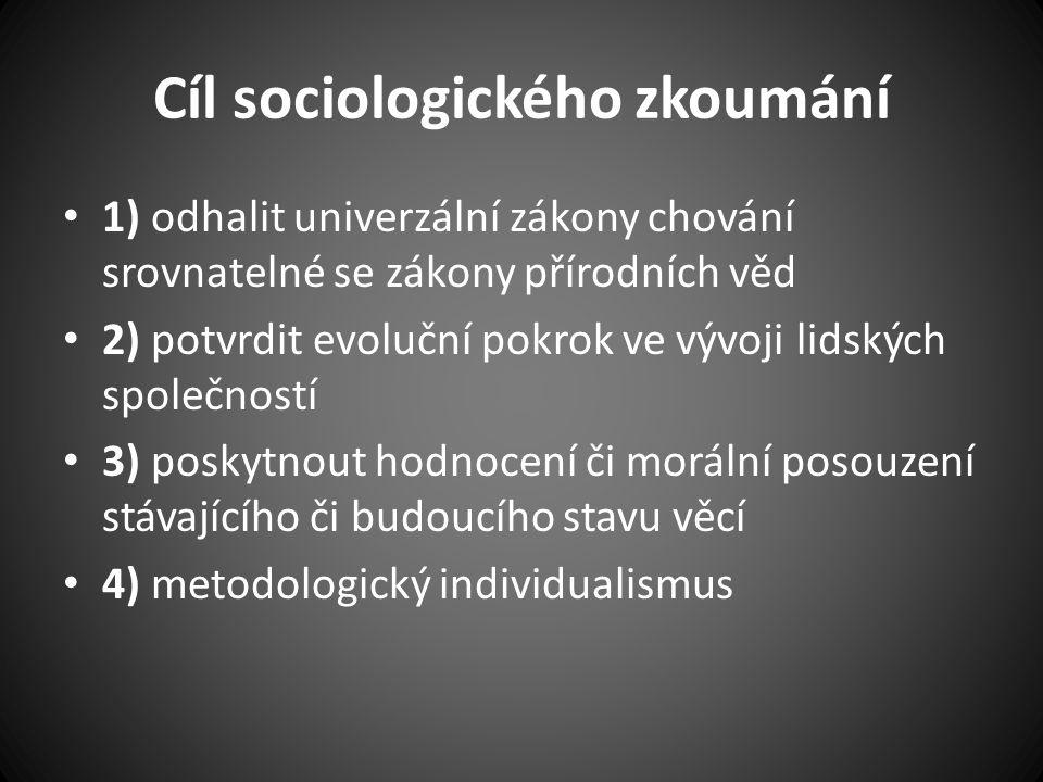 Cíl sociologického zkoumání 1) odhalit univerzální zákony chování srovnatelné se zákony přírodních věd 2) potvrdit evoluční pokrok ve vývoji lidských společností 3) poskytnout hodnocení či morální posouzení stávajícího či budoucího stavu věcí 4) metodologický individualismus