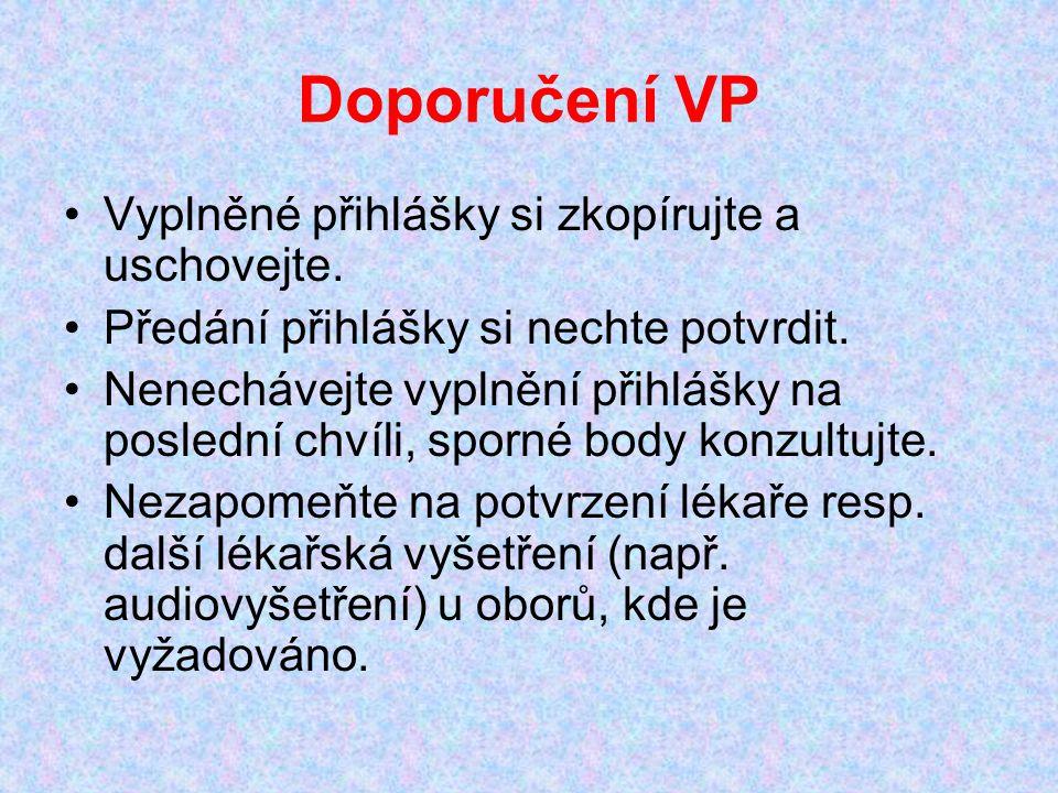 Doporučení VP Vyplněné přihlášky si zkopírujte a uschovejte.