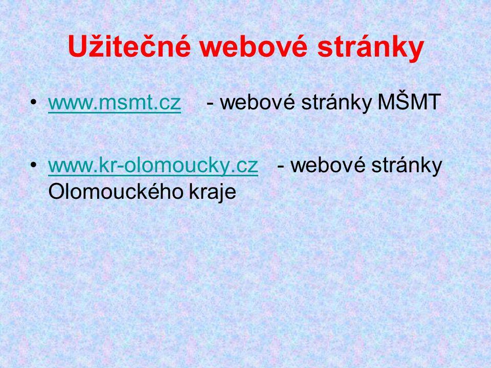 Užitečné webové stránky www.msmt.cz - webové stránky MŠMTwww.msmt.cz www.kr-olomoucky.cz - webové stránky Olomouckého krajewww.kr-olomoucky.cz