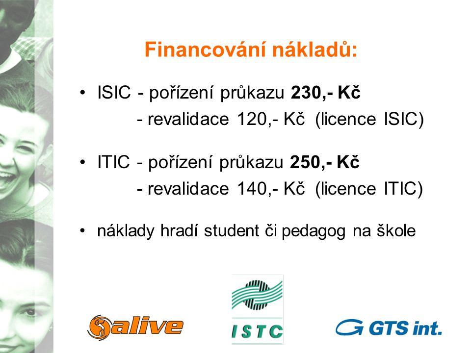 Financování nákladů: ISIC - pořízení průkazu 230,- Kč - revalidace 120,- Kč (licence ISIC) ITIC - pořízení průkazu 250,- Kč - revalidace 140,- Kč (licence ITIC) náklady hradí student či pedagog na škole