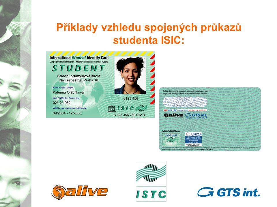 Příklady vzhledu spojených průkazů studenta ITIC: