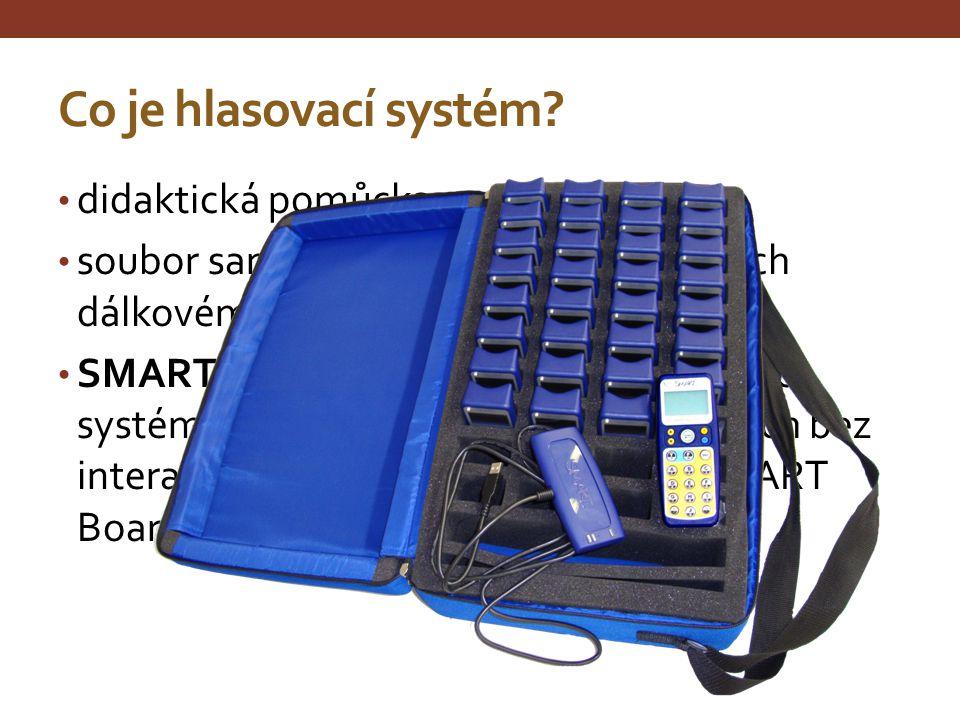 Co je hlasovací systém? didaktická pomůcka soubor samostatných konzol podobných dálkovému ovladači na televizi SMART Response – univerzální hlasovací