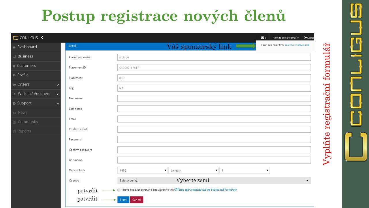 Postup registrace nových členů Váš sponzorský link Vyplňte registrační formulář Vyberte zemi potvrdit