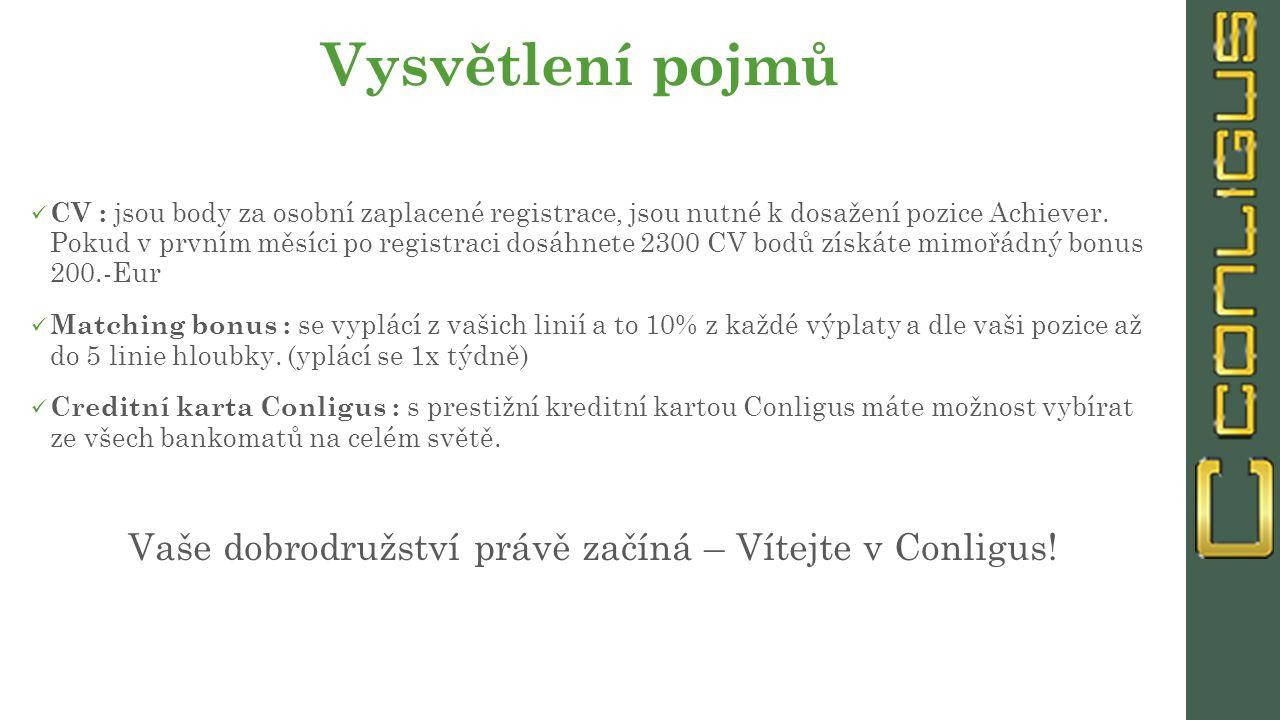 Vysvětlení pojmů CV : jsou body za osobní zaplacené registrace, jsou nutné k dosažení pozice Achiever.
