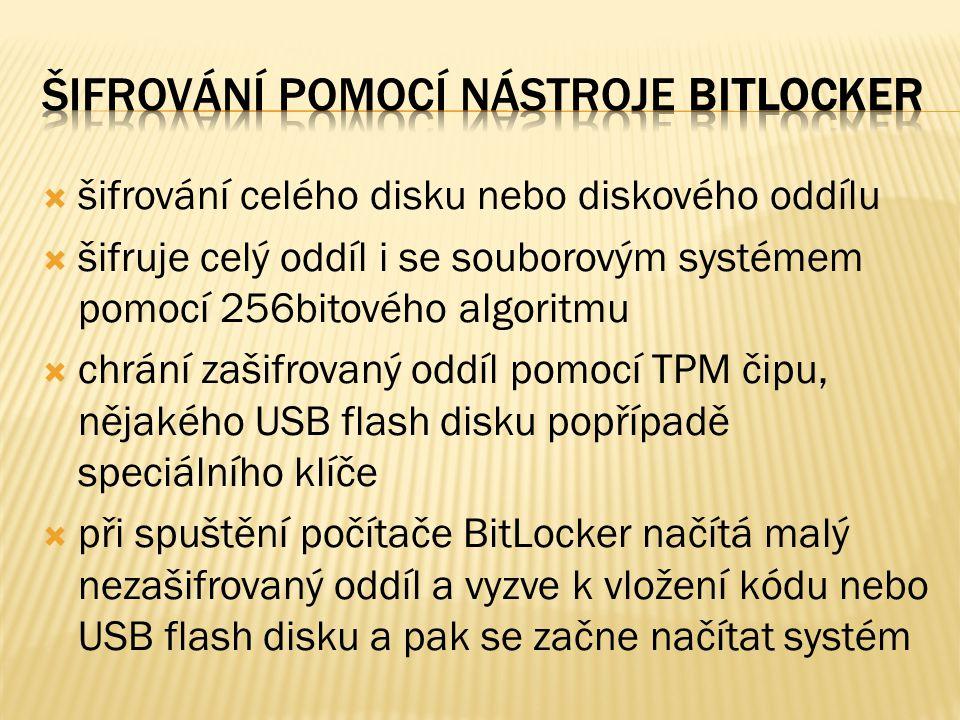  šifrování celého disku nebo diskového oddílu  šifruje celý oddíl i se souborovým systémem pomocí 256bitového algoritmu  chrání zašifrovaný oddíl pomocí TPM čipu, nějakého USB flash disku popřípadě speciálního klíče  při spuštění počítače BitLocker načítá malý nezašifrovaný oddíl a vyzve k vložení kódu nebo USB flash disku a pak se začne načítat systém