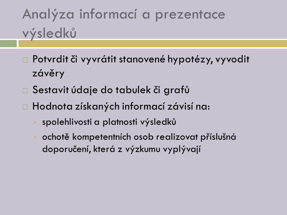 Analýza informací a prezentace výsledků  Potvrdit či vyvrátit stanovené hypotézy, vyvodit závěry  Sestavit údaje do tabulek či grafů  Hodnota získaných informací závisí na:  spolehlivosti a platnosti výsledků  ochotě kompetentních osob realizovat příslušná doporučení, která z výzkumu vyplývají