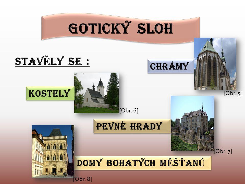 Gotický sloh STAV Ě LY SE : CHRÁMY PEVNÉ HRADY DOMY BOHATÝCH M Ě Š Ť AN Ů KOSTELY [Obr. 5] [Obr. 6] [Obr. 7] [Obr. 8]