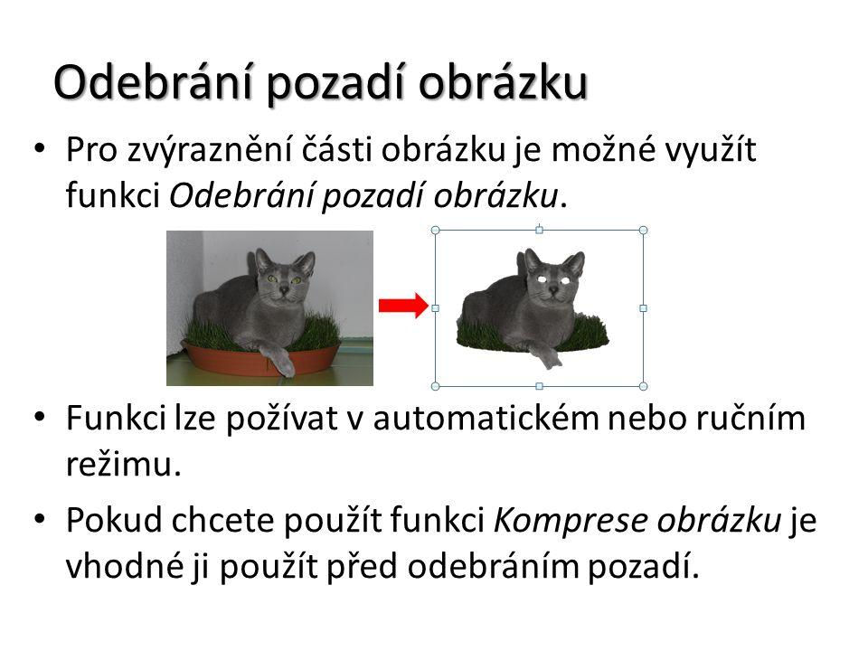 Odebrání pozadí obrázku Pro zvýraznění části obrázku je možné využít funkci Odebrání pozadí obrázku.