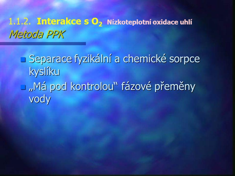"""Metoda PPK 1.1.2. Interakce s O 2 Nízkoteplotní oxidace uhlí Metoda PPK n Separace fyzikální a chemické sorpce kyslíku n """"Má pod kontrolou"""" fázové pře"""