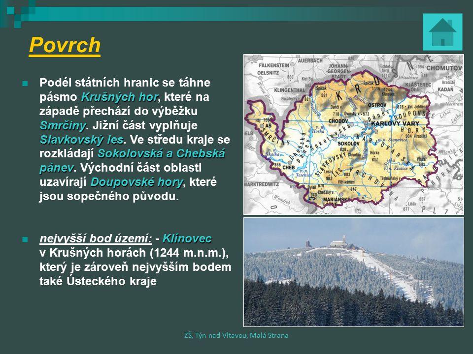 Povrch Podél státních hranic se táhne Krušných hor pásmo Krušných hor, které na západě přechází do výběžku Smrčiny Smrčiny.