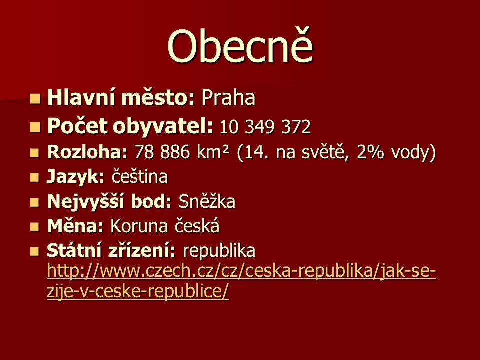 Obecně Hlavní město: Praha Hlavní město: Praha Počet obyvatel: 10 349 372 Počet obyvatel: 10 349 372 Rozloha: 78 886 km² (14. na světě, 2% vody) Rozlo