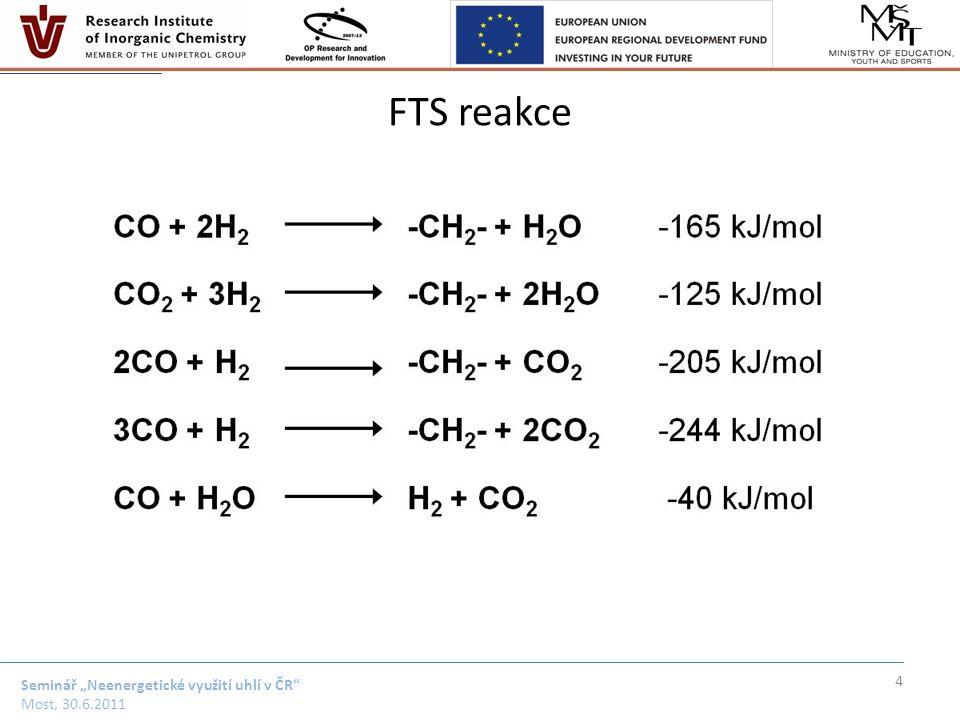 "Seminář ""Neenergetické využití uhlí v ČR Most, 30.6.2011 Základy FTS Catalysts – Co, Fe, Ru, Ni – Al 2 O 3, SiO 2, TiO 2 Reactor configuration – fixed, slurry, fluidized bed Reaction conditions – low temperature – 200 - 240°C – high temperature – 300 - 350°C Products – alkanes – up to waxes C 100 – alkenes – oxygenates (alcohols, aldehydes, ketones, acids) 5 M.A.Vannice, J.Catal."