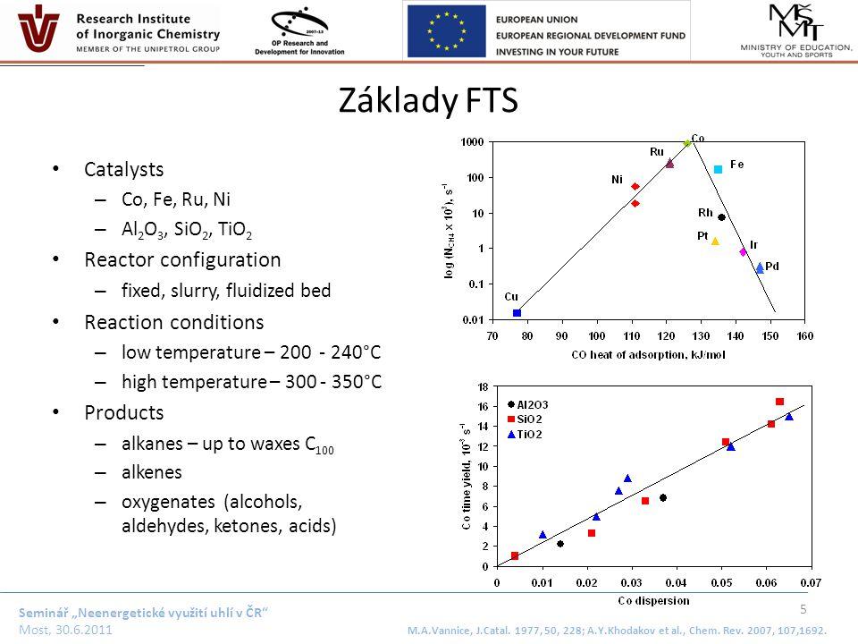"""Seminář """"Neenergetické využití uhlí v ČR"""" Most, 30.6.2011 Základy FTS Catalysts – Co, Fe, Ru, Ni – Al 2 O 3, SiO 2, TiO 2 Reactor configuration – fixe"""
