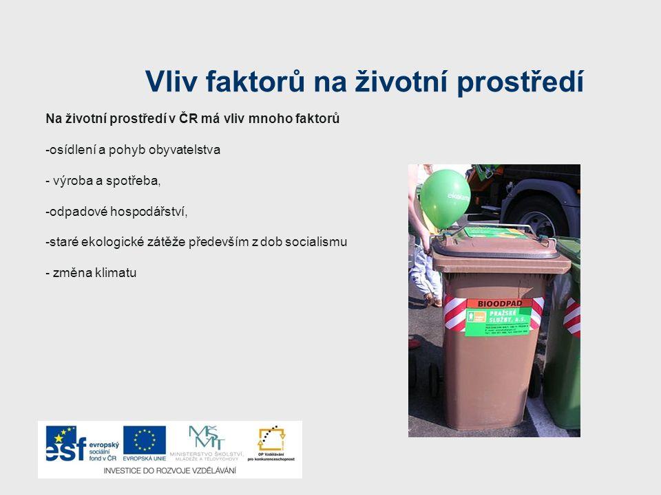 Vliv faktorů na životní prostředí Na životní prostředí v ČR má vliv mnoho faktorů -osídlení a pohyb obyvatelstva - výroba a spotřeba, -odpadové hospodářství, -staré ekologické zátěže především z dob socialismu - změna klimatu