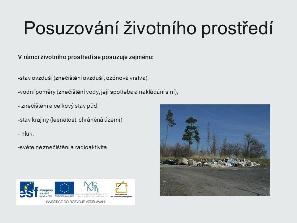 Posuzování životního prostředí V rámci životního prostředí se posuzuje zejména: -stav ovzduší (znečištění ovzduší, ozónová vrstva), -vodní poměry (znečištění vody, její spotřeba a nakládání s ní), - znečištění a celkový stav půd, -stav krajiny (lesnatost, chráněná území) - hluk, -světelné znečištění a radioaktivita