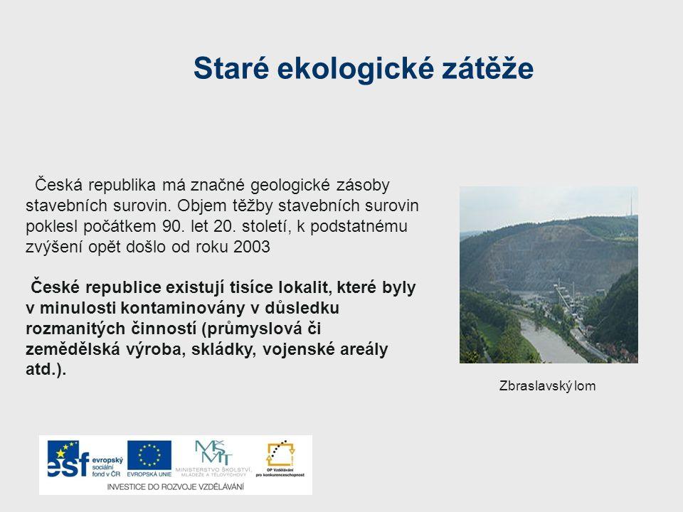 Staré ekologické zátěže Česká republika má značné geologické zásoby stavebních surovin.