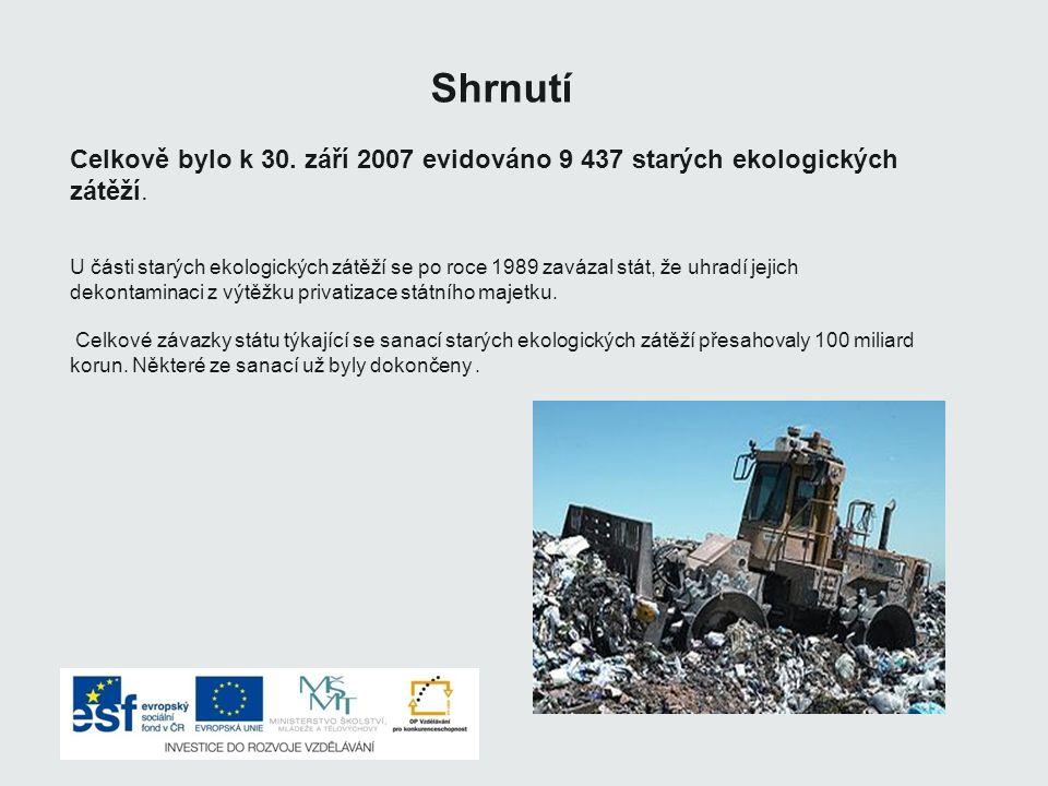 Shrnutí Celkově bylo k 30.září 2007 evidováno 9 437 starých ekologických zátěží.