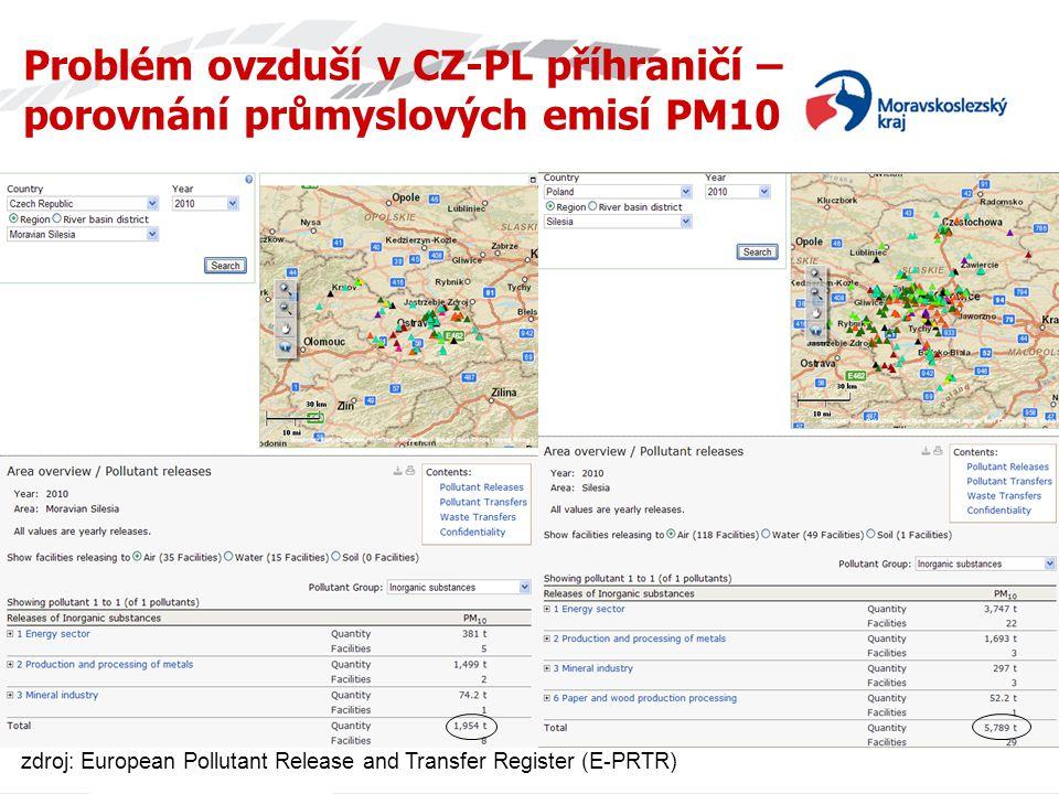 Problém ovzduší v CZ-PL příhraničí – porovnání průmyslových emisí PM10 zdroj: European Pollutant Release and Transfer Register (E-PRTR)