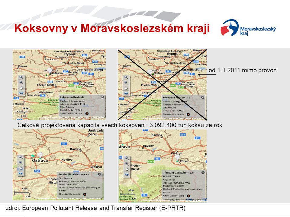 od 1.1.2011 mimo provoz Koksovny v Moravskoslezském kraji Celková projektovaná kapacita všech koksoven : 3.092.400 tun koksu za rok