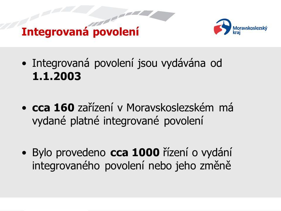 Integrovaná povolení Integrovaná povolení jsou vydávána od 1.1.2003 cca 160 zařízení v Moravskoslezském má vydané platné integrované povolení Bylo provedeno cca 1000 řízení o vydání integrovaného povolení nebo jeho změně