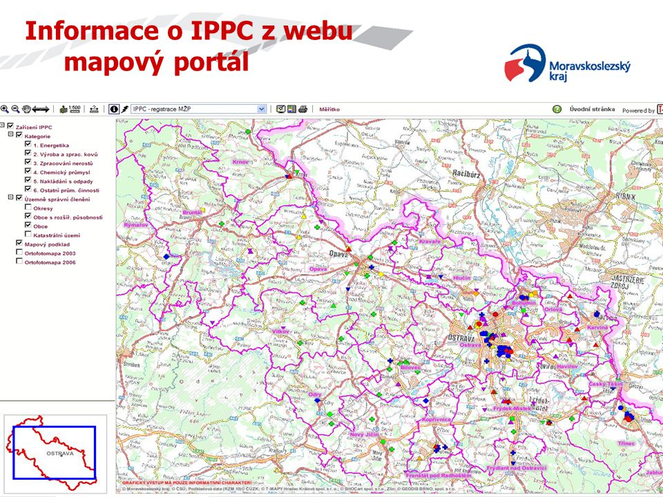 Informace o IPPC z webu mapový portál