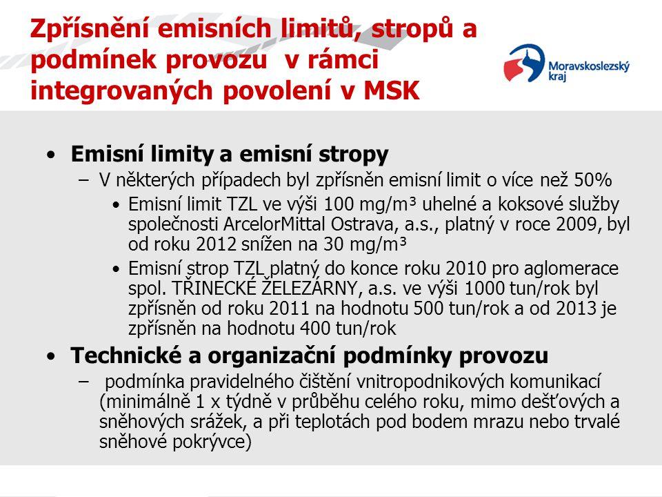 Zpřísnění emisních limitů, stropů a podmínek provozu v rámci integrovaných povolení v MSK Emisní limity a emisní stropy –V některých případech byl zpřísněn emisní limit o více než 50% Emisní limit TZL ve výši 100 mg/m³ uhelné a koksové služby společnosti ArcelorMittal Ostrava, a.s., platný v roce 2009, byl od roku 2012 snížen na 30 mg/m³ Emisní strop TZL platný do konce roku 2010 pro aglomerace spol.
