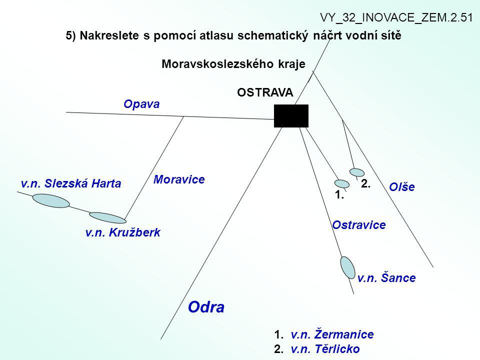 Odra Opava Moravice 5) Nakreslete s pomocí atlasu schematický náčrt vodní sítě Moravskoslezského kraje v.n. Slezská Harta v.n. Kružberk Ostravice Olše