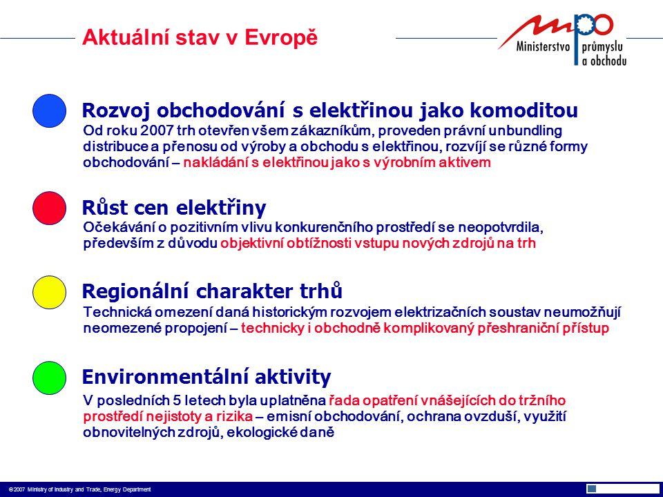  2007 Ministry of Industry and Trade, Energy Department Aktuální stav v Evropě Rozvoj obchodování s elektřinou jako komoditou Růst cen elektřiny Environmentální aktivity Regionální charakter trhů Od roku 2007 trh otevřen všem zákazníkům, proveden právní unbundling distribuce a přenosu od výroby a obchodu s elektřinou, rozvíjí se různé formy obchodování – nakládání s elektřinou jako s výrobním aktivem Očekávání o pozitivním vlivu konkurenčního prostředí se neopotvrdila, především z důvodu objektivní obtížnosti vstupu nových zdrojů na trh Technická omezení daná historickým rozvojem elektrizačních soustav neumožňují neomezené propojení – technicky i obchodně komplikovaný přeshraniční přístup V posledních 5 letech byla uplatněna řada opatření vnášejících do tržního prostředí nejistoty a rizika – emisní obchodování, ochrana ovzduší, využití obnovitelných zdrojů, ekologické daně