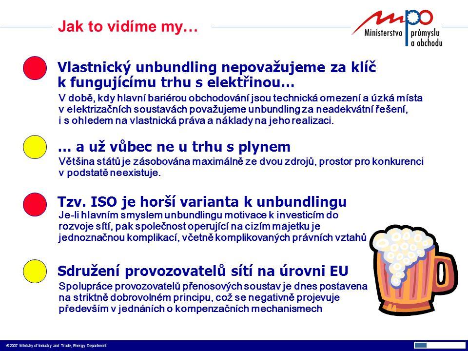  2007 Ministry of Industry and Trade, Energy Department Jak to vidíme my… Vlastnický unbundling nepovažujeme za klíč k fungujícímu trhu s elektřinou… Tzv.