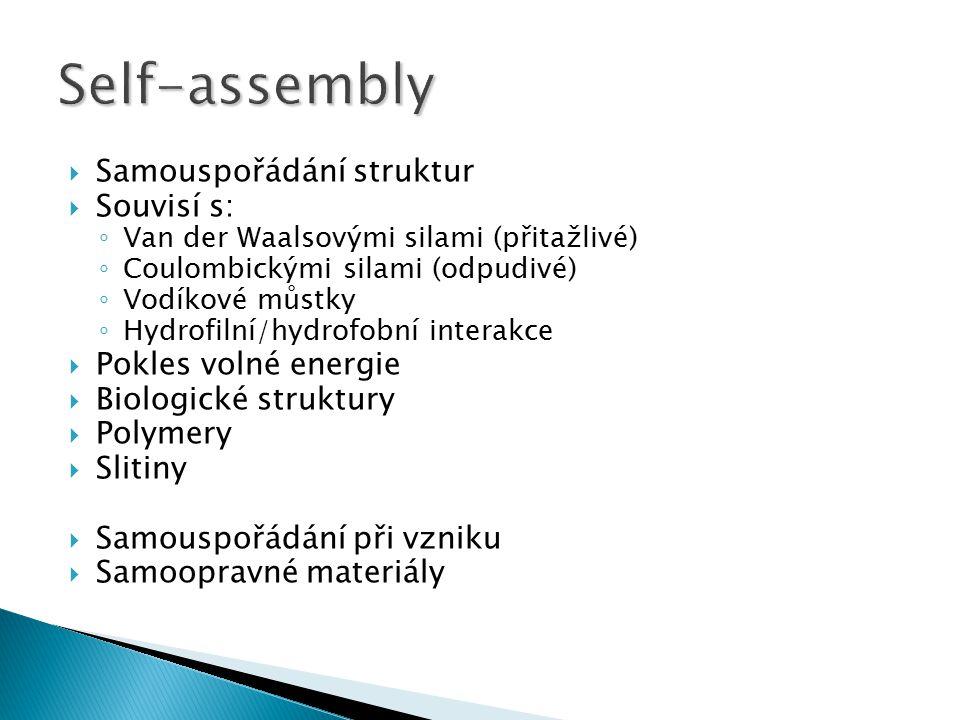  Samouspořádání struktur  Souvisí s: ◦ Van der Waalsovými silami (přitažlivé) ◦ Coulombickými silami (odpudivé) ◦ Vodíkové můstky ◦ Hydrofilní/hydro