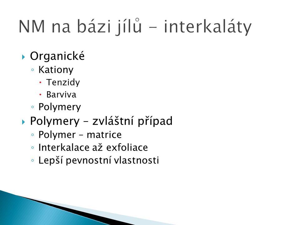  Organické ◦ Kationy  Tenzidy  Barviva ◦ Polymery  Polymery – zvláštní případ ◦ Polymer – matrice ◦ Interkalace až exfoliace ◦ Lepší pevnostní vla