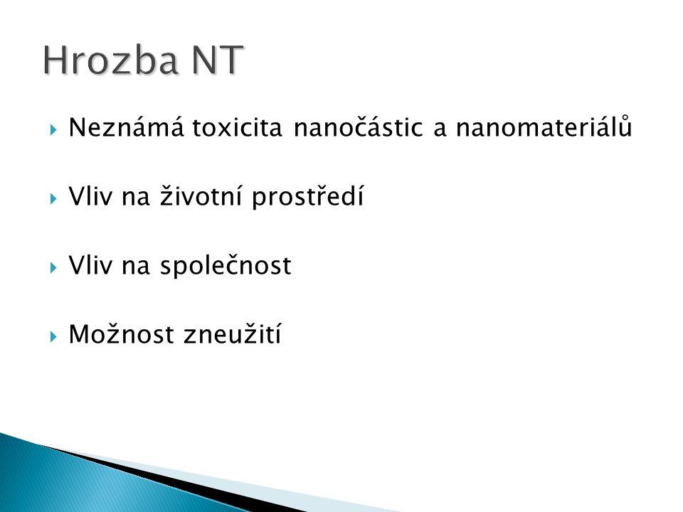 Neznámá toxicita nanočástic a nanomateriálů  Vliv na životní prostředí  Vliv na společnost  Možnost zneužití
