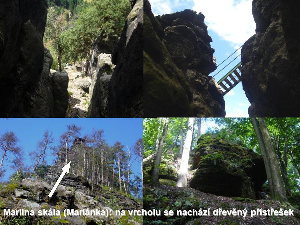 Mariina skála (Mariánka): na vrcholu se nachází dřevěný přístřešek