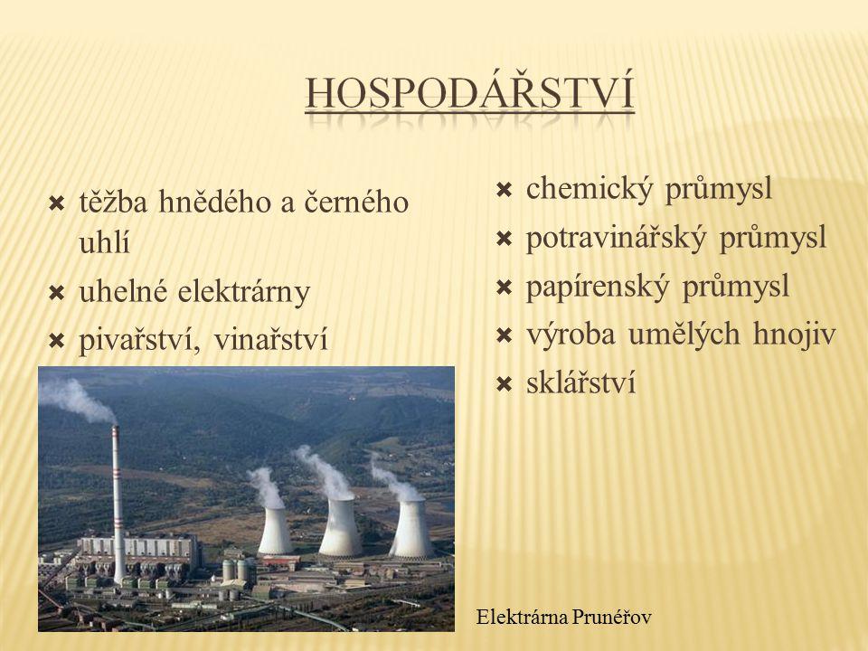  těžba hnědého a černého uhlí  uhelné elektrárny  pivařství, vinařství  chemický průmysl  potravinářský průmysl  papírenský průmysl  výroba umě