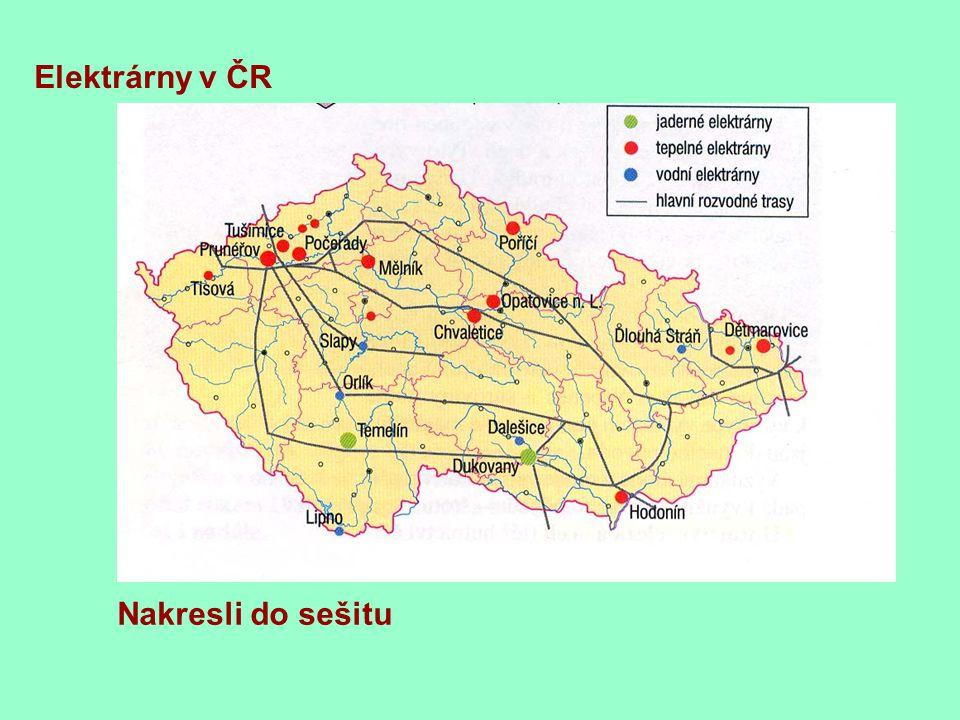 Nakresli do sešitu Elektrárny v ČR