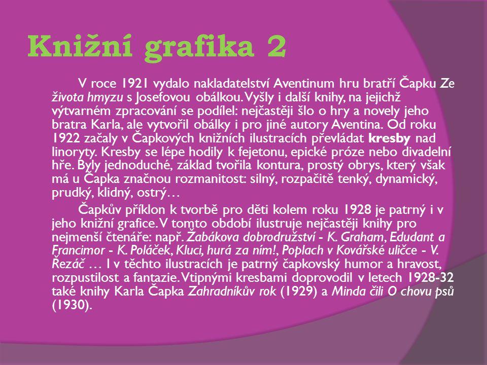 Knižní grafika 2 V roce 1921 vydalo nakladatelství Aventinum hru bratří Čapku Ze života hmyzu s Josefovou obálkou.