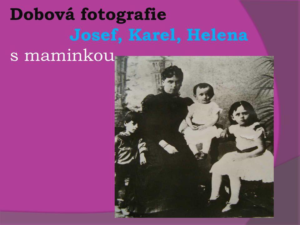 Dobová fotografie Josef, Karel, Helena s maminkou
