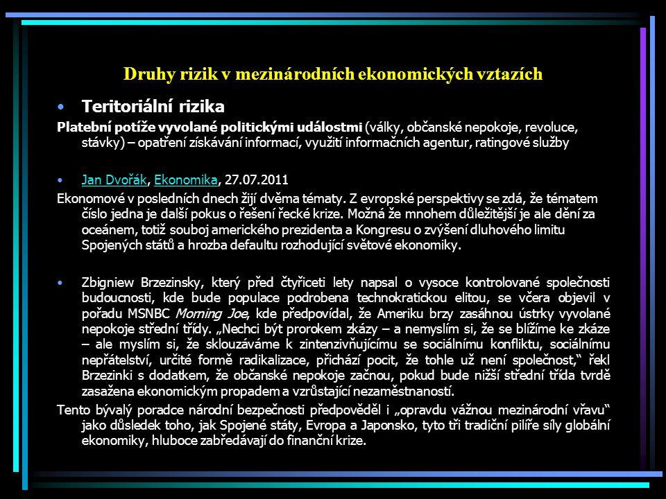 Druhy rizik v mezinárodních ekonomických vztazích Teritoriální rizika Platební potíže vyvolané politickými událostmi (války, občanské nepokoje, revolu