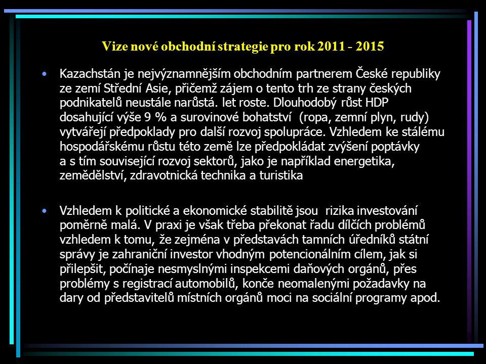 Vize nové obchodní strategie pro rok 2011 - 2015 Kazachstán je nejvýznamnějším obchodním partnerem České republiky ze zemí Střední Asie, přičemž zájem