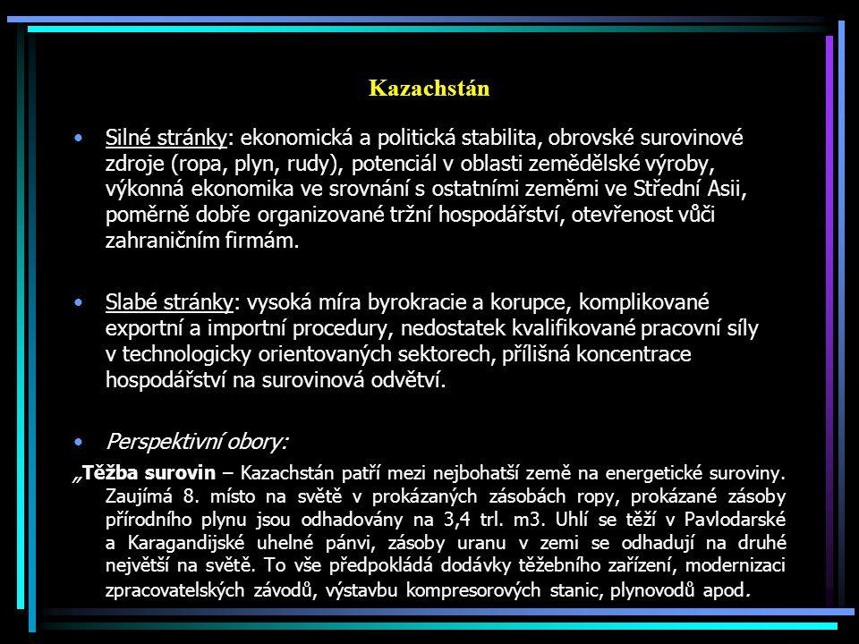 Kazachstán Silné stránky: ekonomická a politická stabilita, obrovské surovinové zdroje (ropa, plyn, rudy), potenciál v oblasti zemědělské výroby, výko