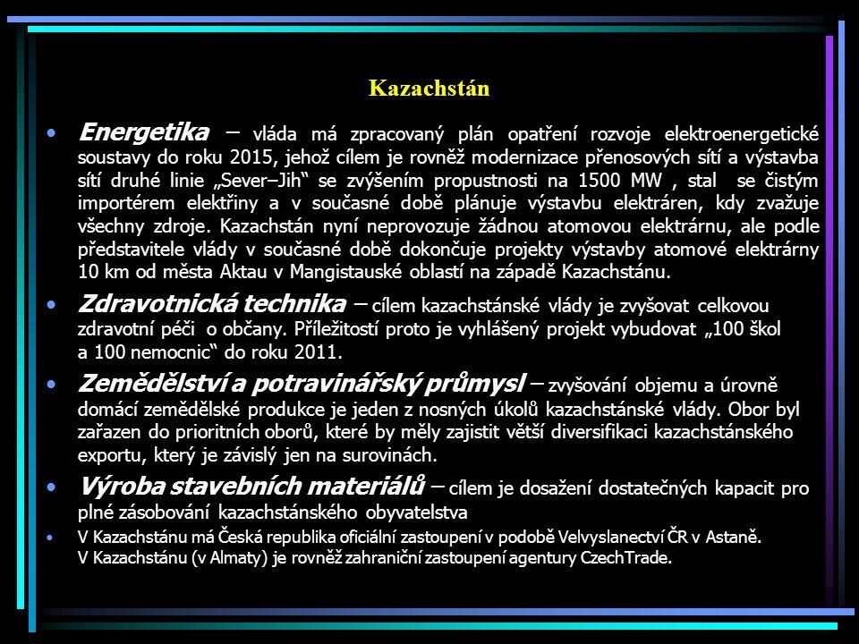 Kazachstán Energetika – vláda má zpracovaný plán opatření rozvoje elektroenergetické soustavy do roku 2015, jehož cílem je rovněž modernizace přenosov