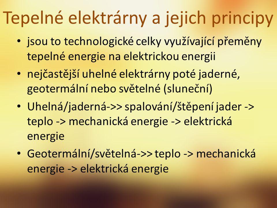 Tepelné elektrárny a jejich principy jsou to technologické celky využívající přeměny tepelné energie na elektrickou energii nejčastější uhelné elektrá